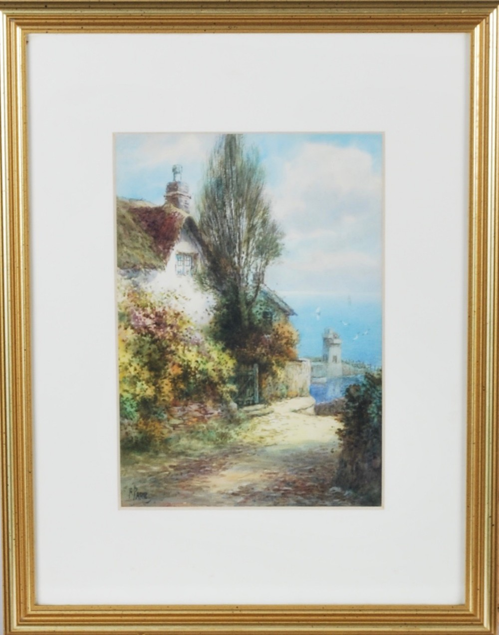 a pair of watercolours of devon cottages