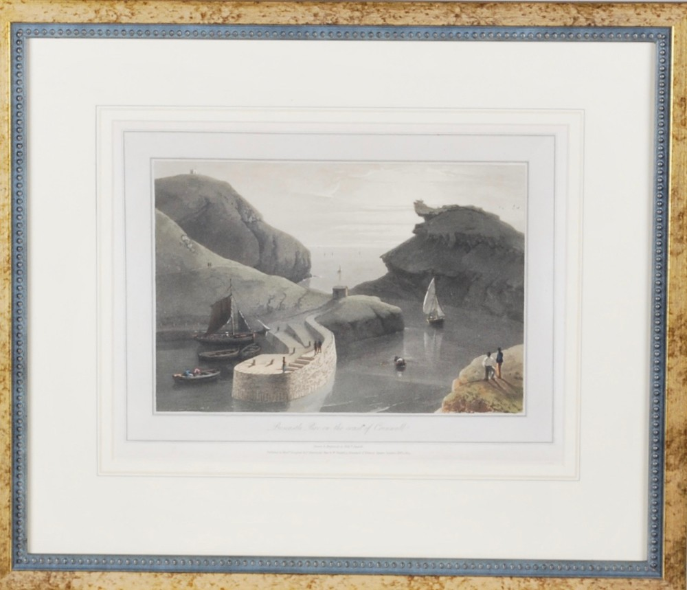 a print of boscastle pier in the county of cornwall c1814