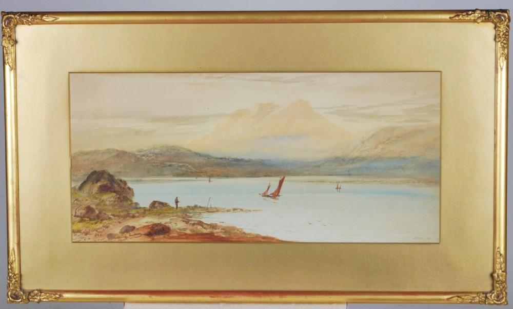 w h earp a watercolour of lake scene c1850