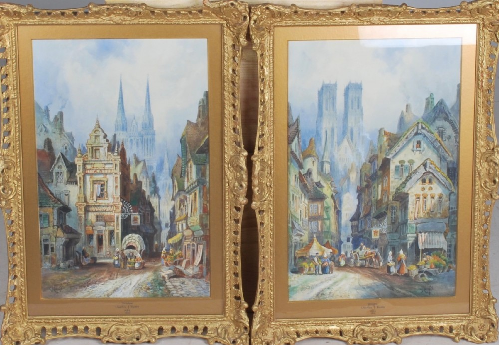 a pair of watercolours of continental cities 1890