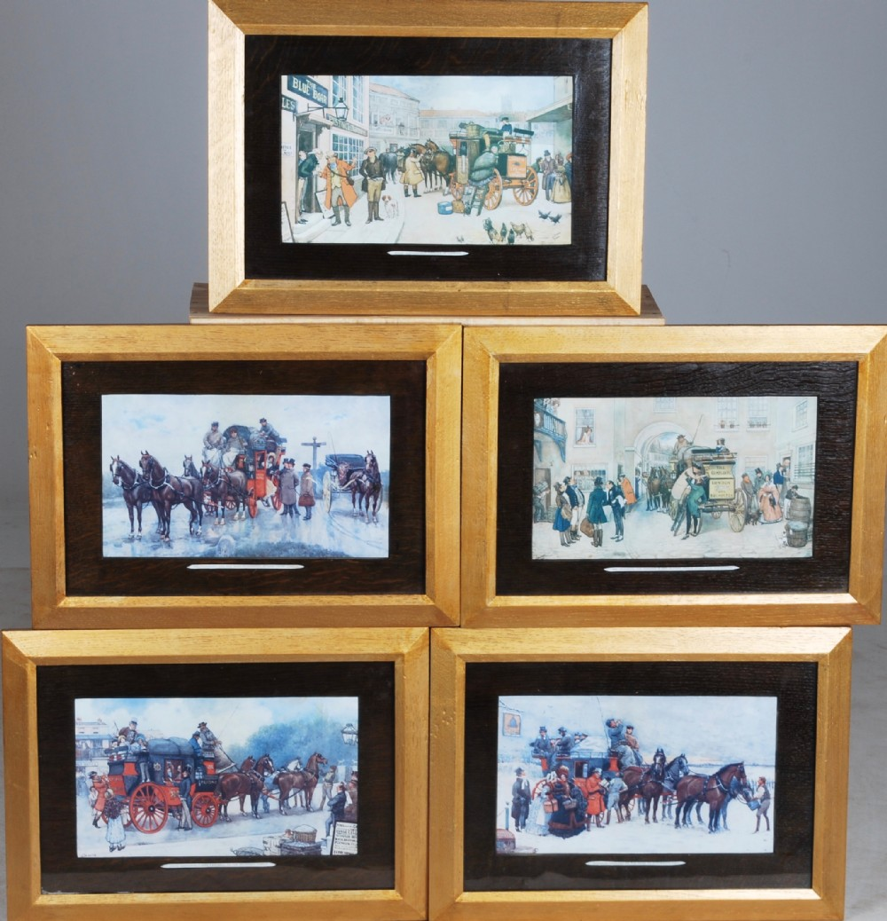 a set of five prints of coaching scenes from dickens late 19th century