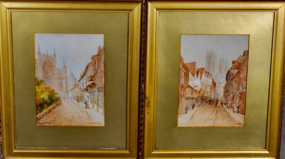 a pair of watercolours of york