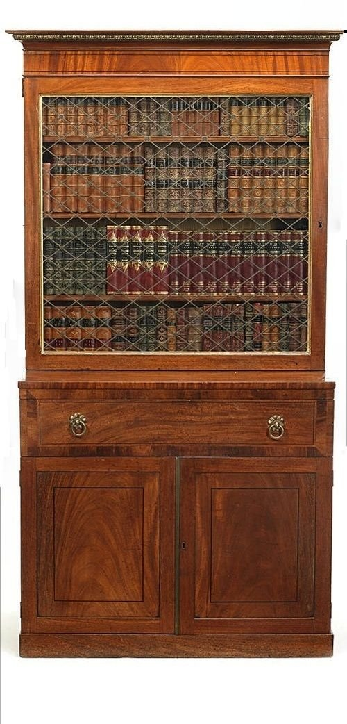regency flame mahogany bookcase of unusual form and small porportions