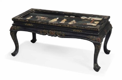 early c20th chinese black and gilt lacquered low table