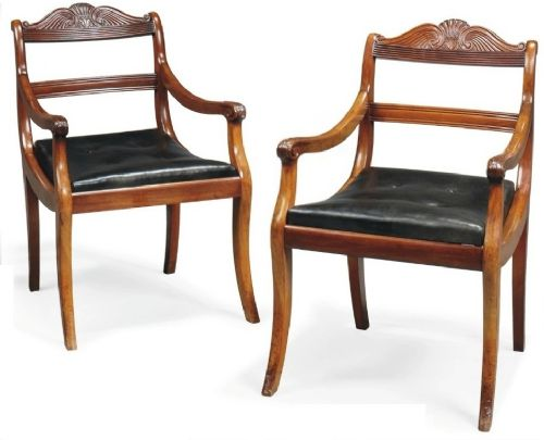 early c19th pair of mahogany open armchairs