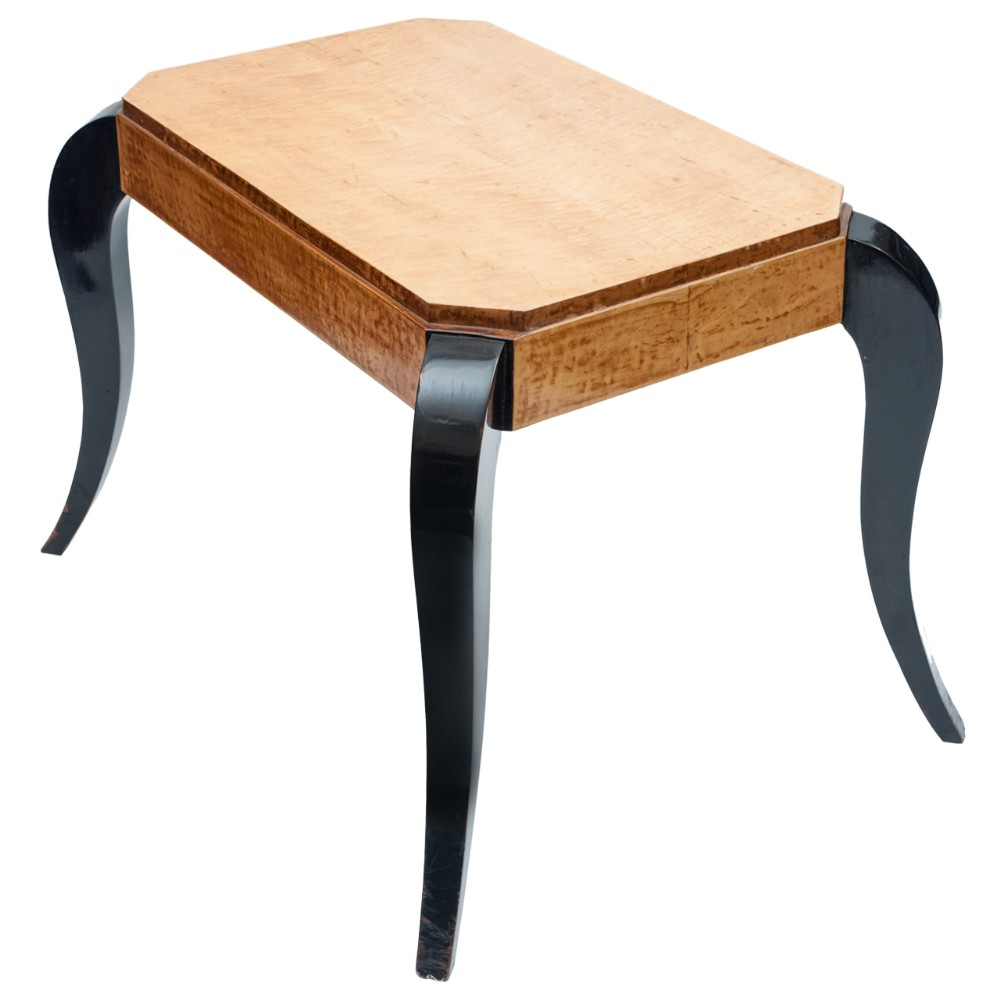 art deco birds eye maple and ebonised centre table