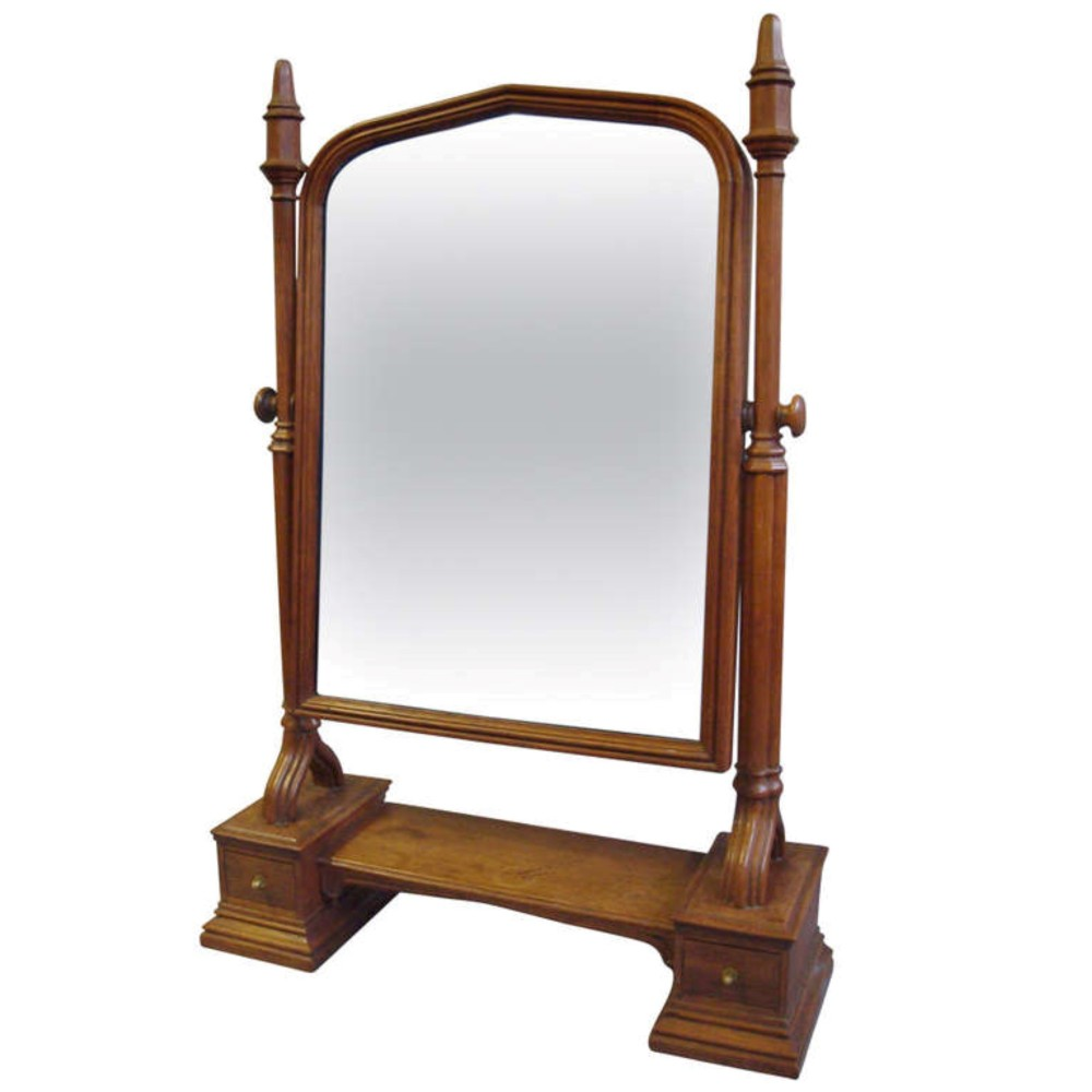 an impressively large c19th gothic oak dressing table mirror