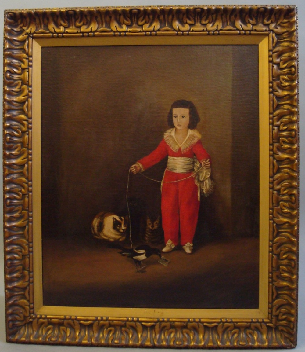 c19th oil painting in the primitive manner boy in red