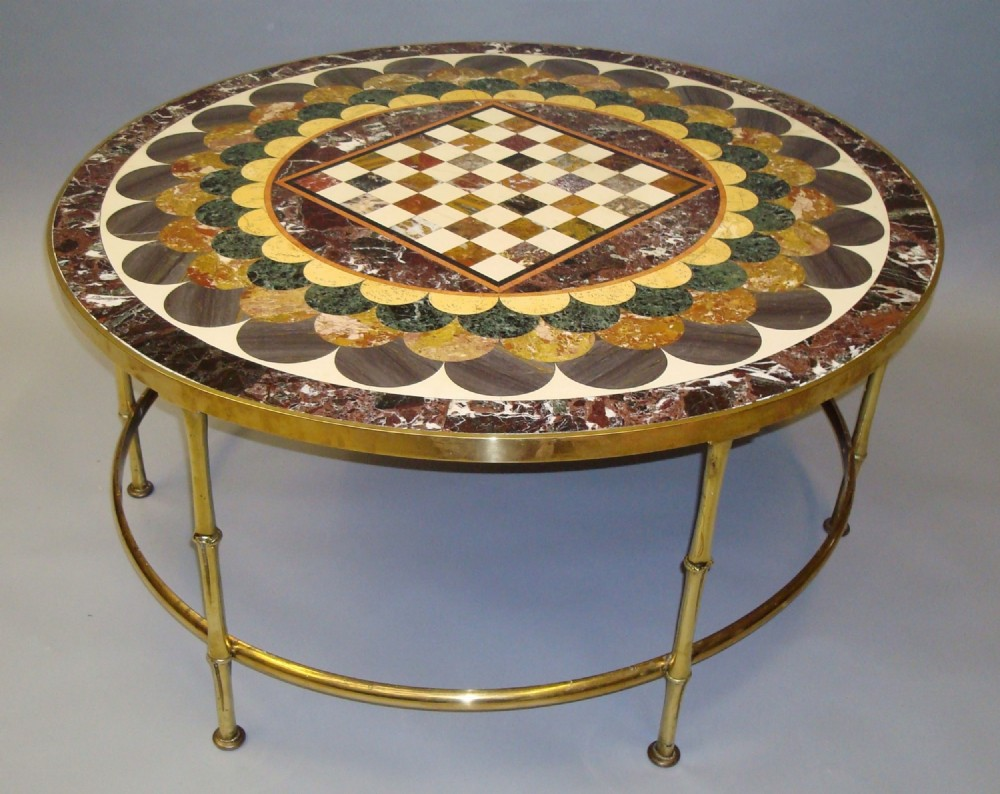 an impressive large c19th specimen marble coffee table