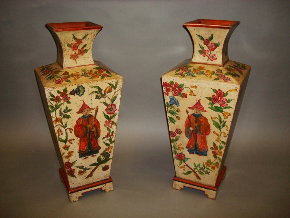pair of large painted vases chinese figures