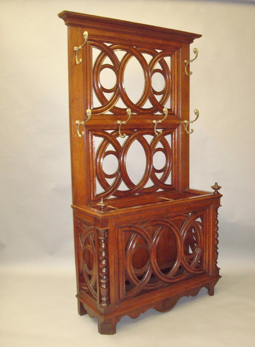 a stylish 19th century oak hall stand