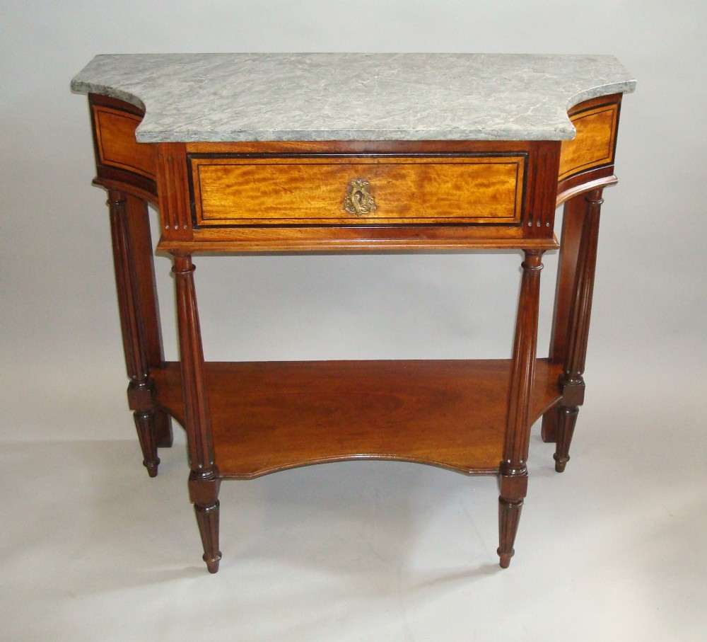 19th century french console table in mahogany and satinwood with marble top