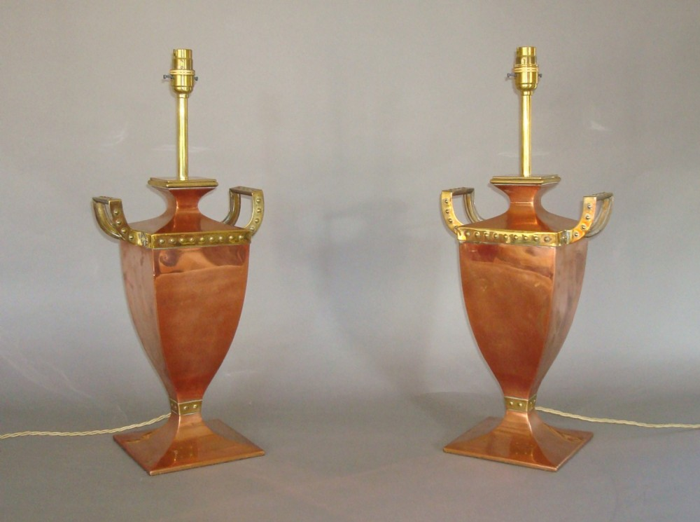 early c20th pair of copper and brass lamps