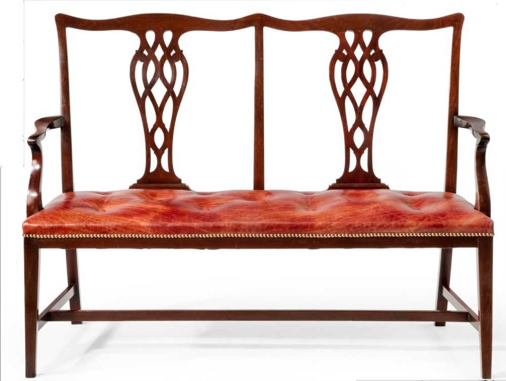 c19th mahogany chair back settee in leather
