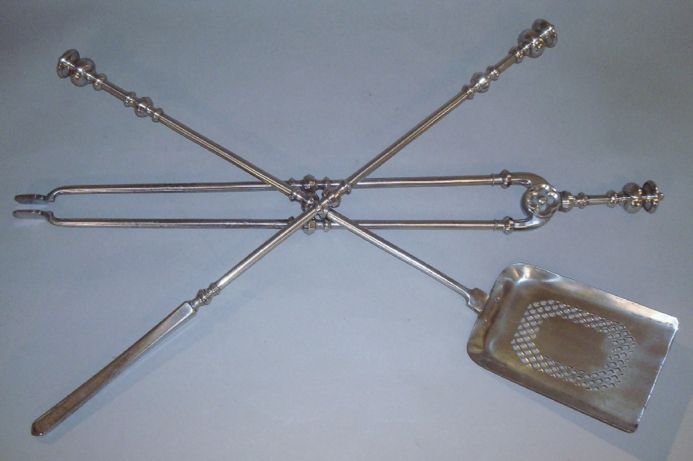 george iv polished steel fire irons or fire tools