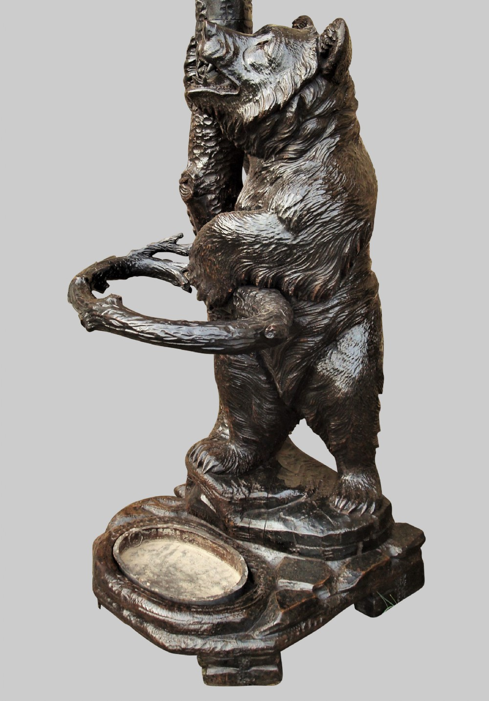 c19th carved bear black forest hall stand