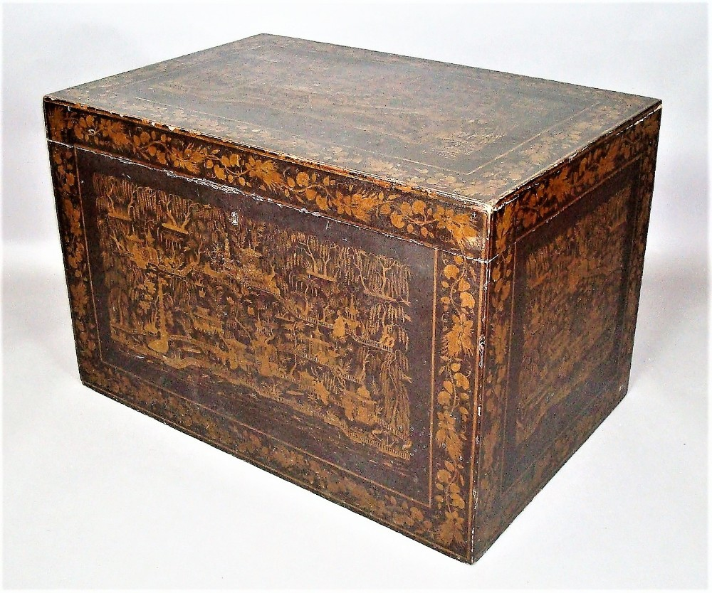mid c19th indian chinoiserie lacquered trunk