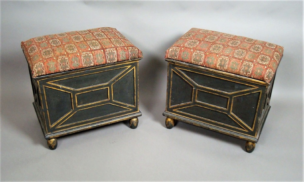 c19th pair of decorated box stools with black and gilt decoration