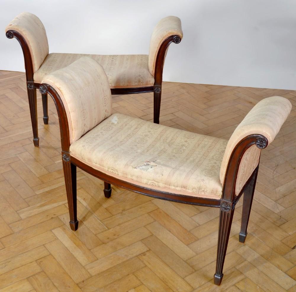 george iii pair of mahogany window seats in the manner of george hepplewhite