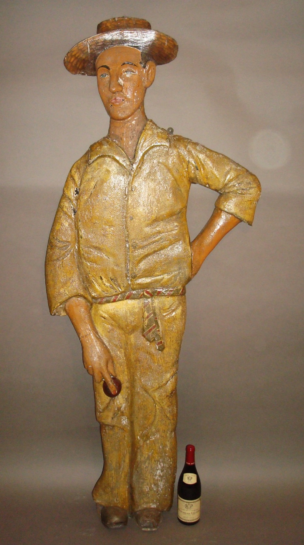 early c20th carved wood cricketer life size