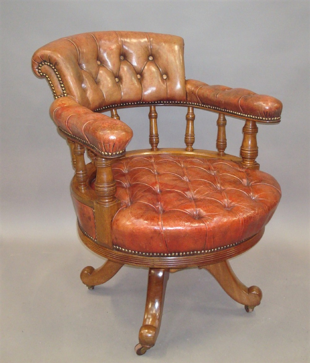 c19th walnut and leather revolving desk chair