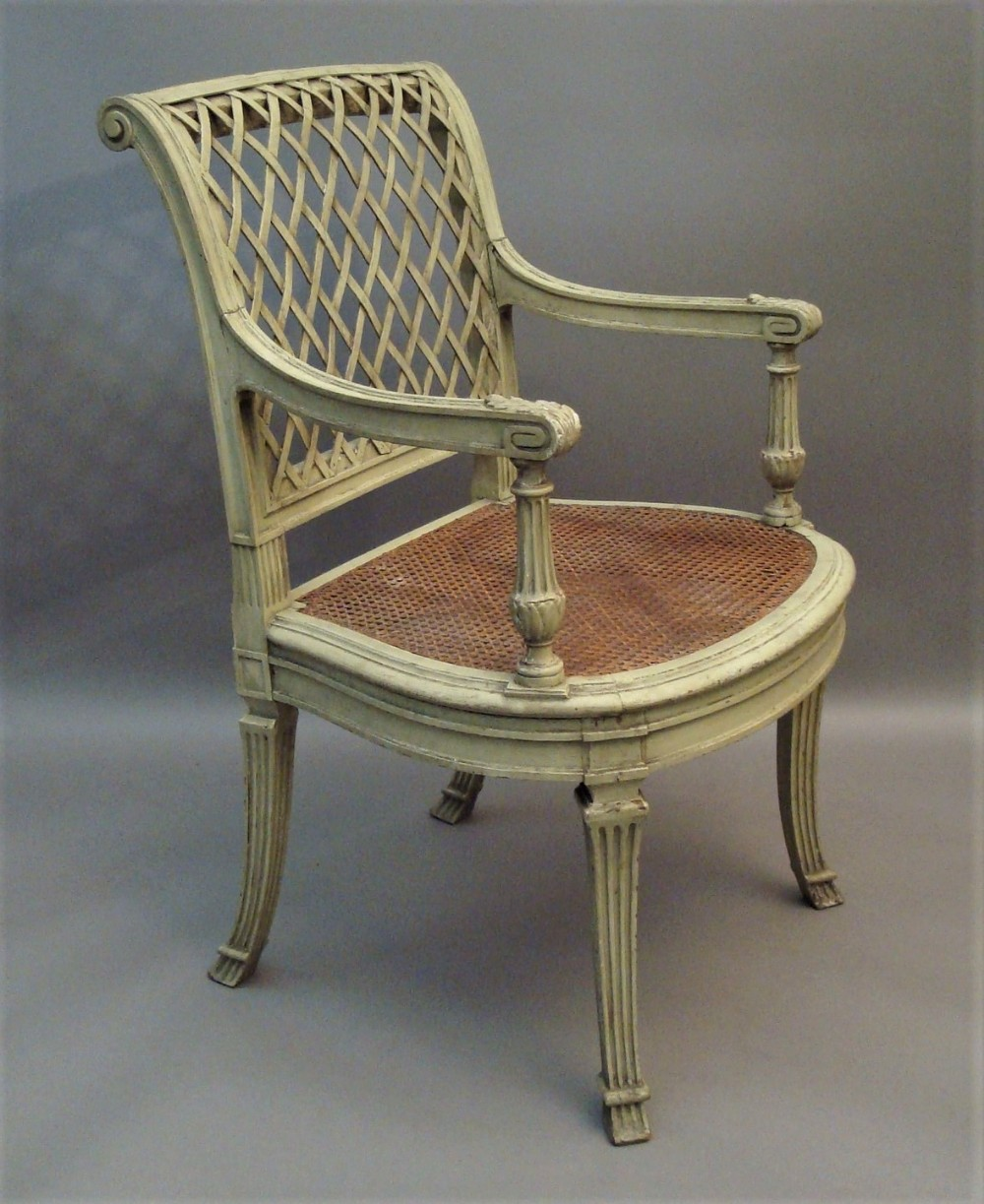 c19th french painted open armchair
