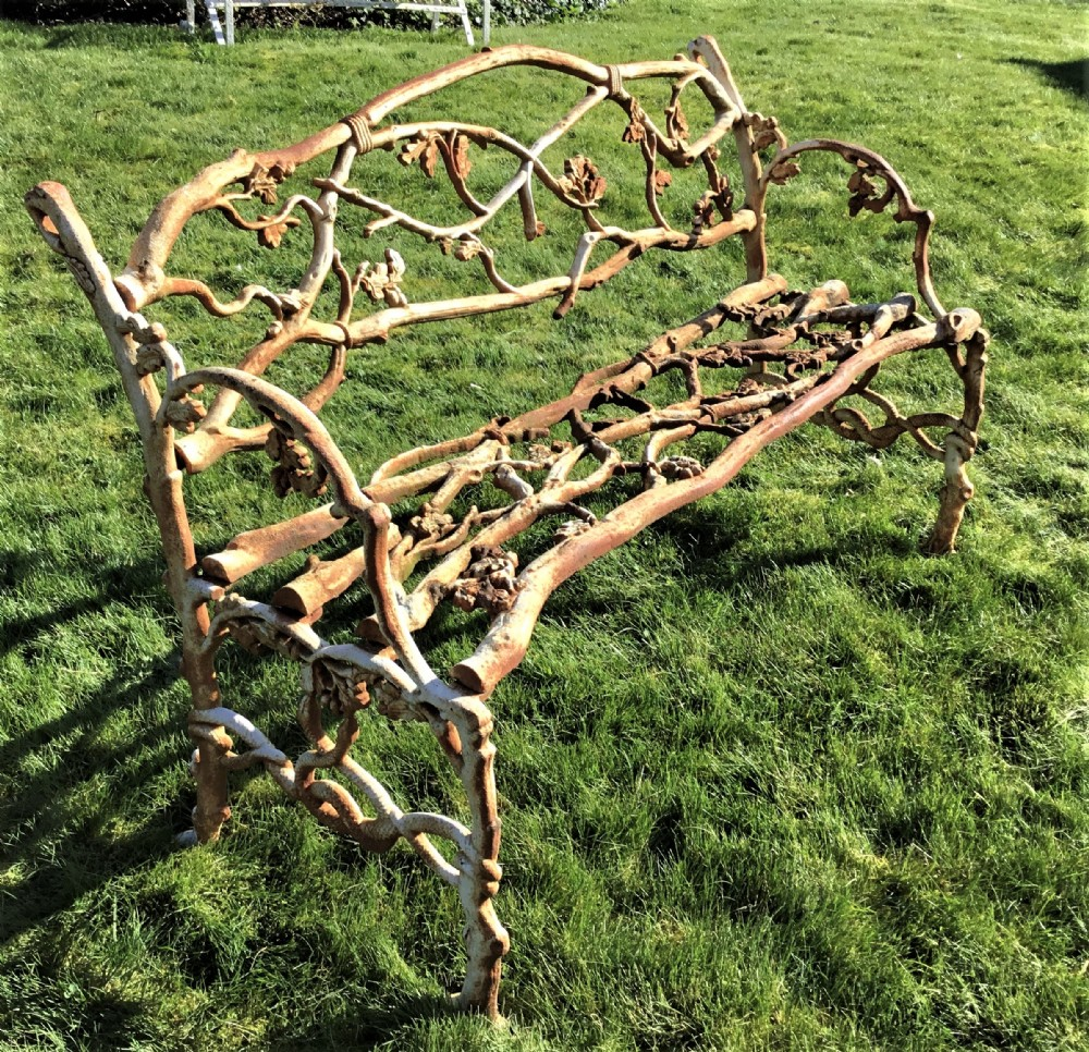 c19th cast iron 'serpent and twig' pattern garden seat bench