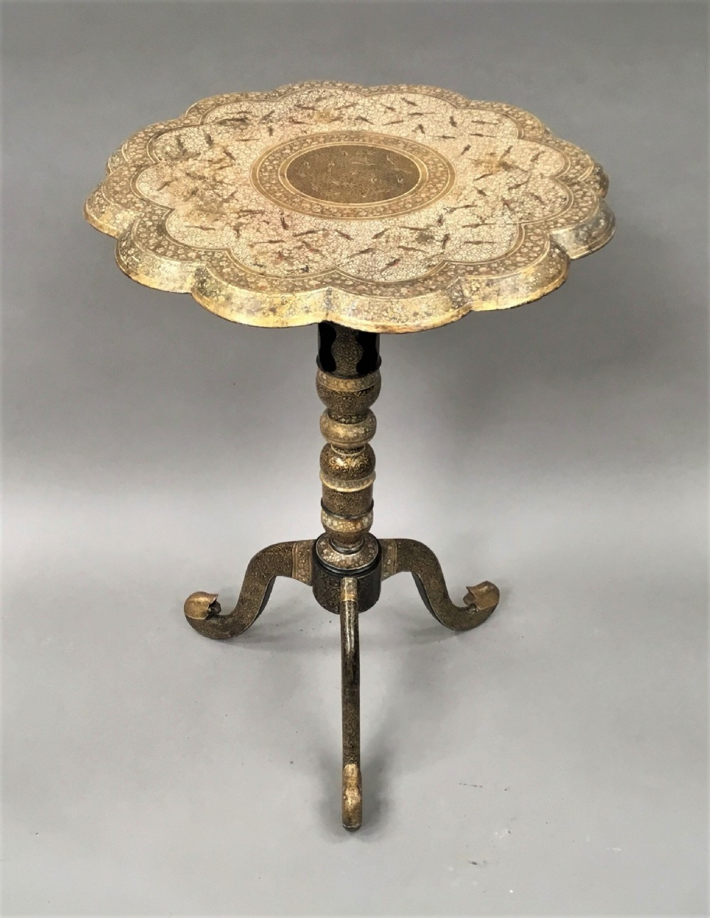 late c19th kashmir table with fine detailed paintwork