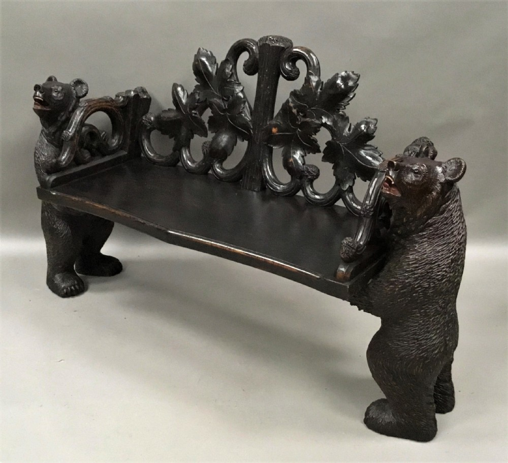 c19th black forest bear hall seat bench