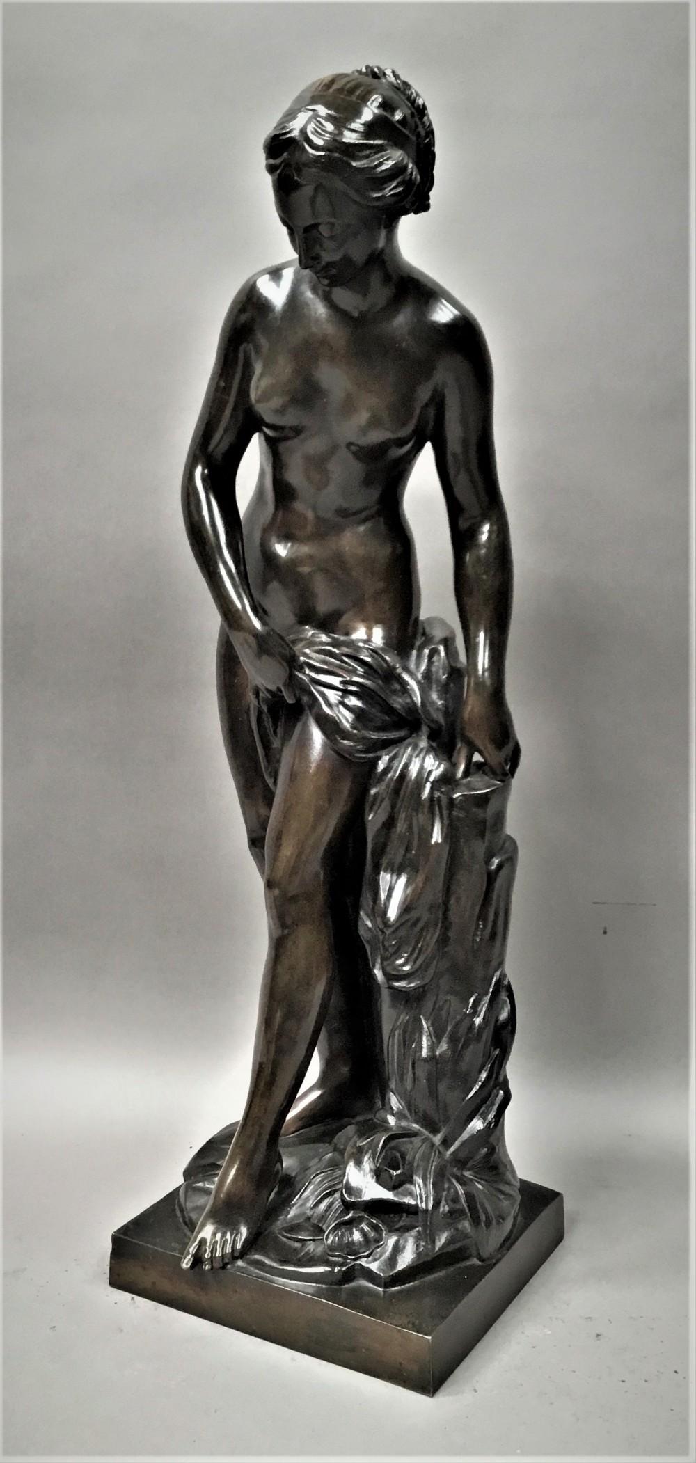 c19th large bronze sculpture of venus bathing venus au bain after etiennemaurice falconet
