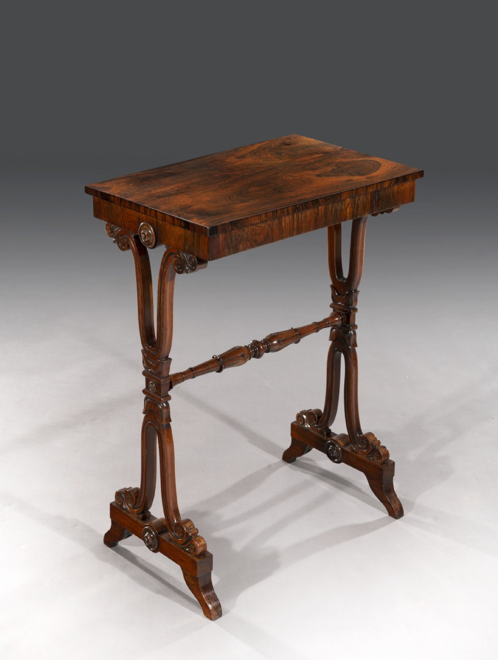 regency rosewood occasional table end table in the manner of george smith