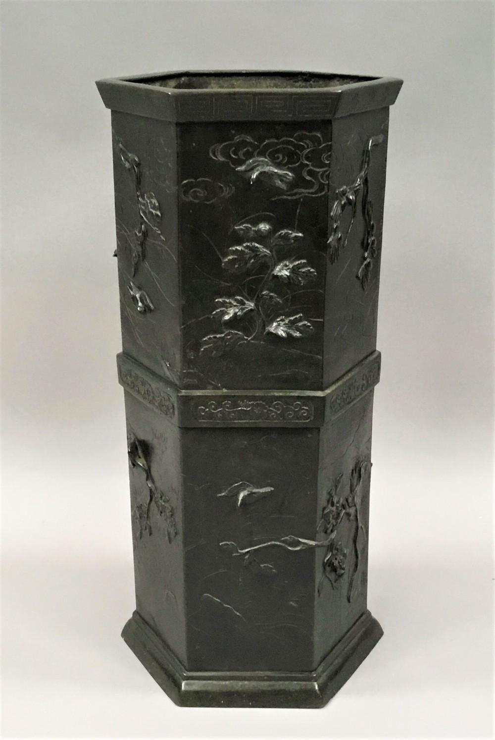 c19th japanese bronze stick stand umbrella stand
