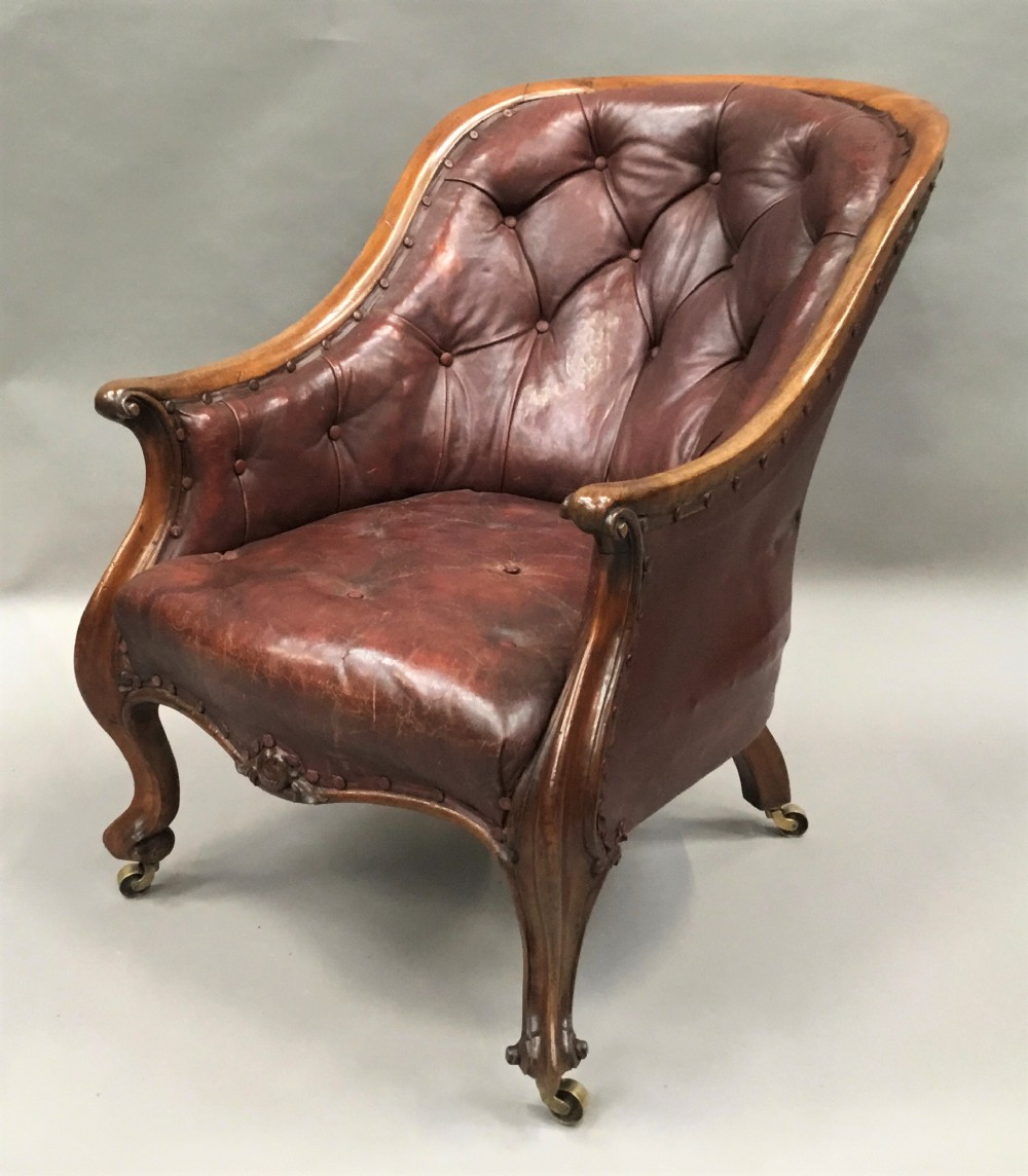 c19th walnut and leather library armchair