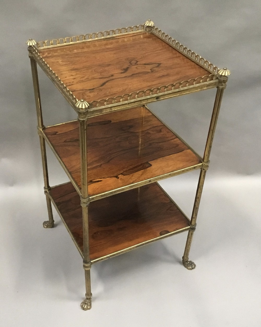 regency rosewood and gilt brass etagere whatnot