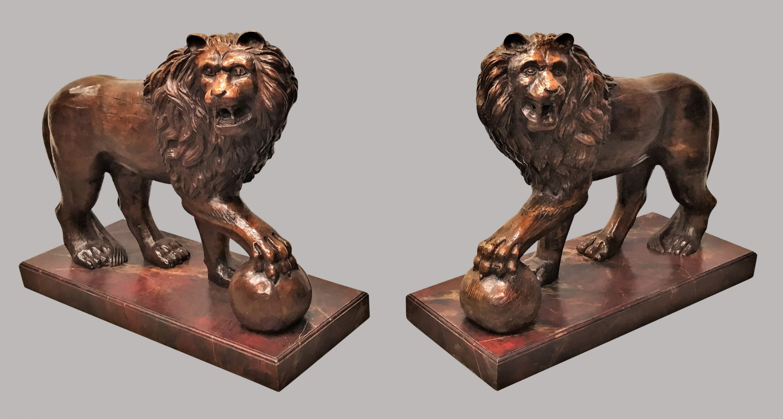 c19th pair of carved medici lions of monumental proportions