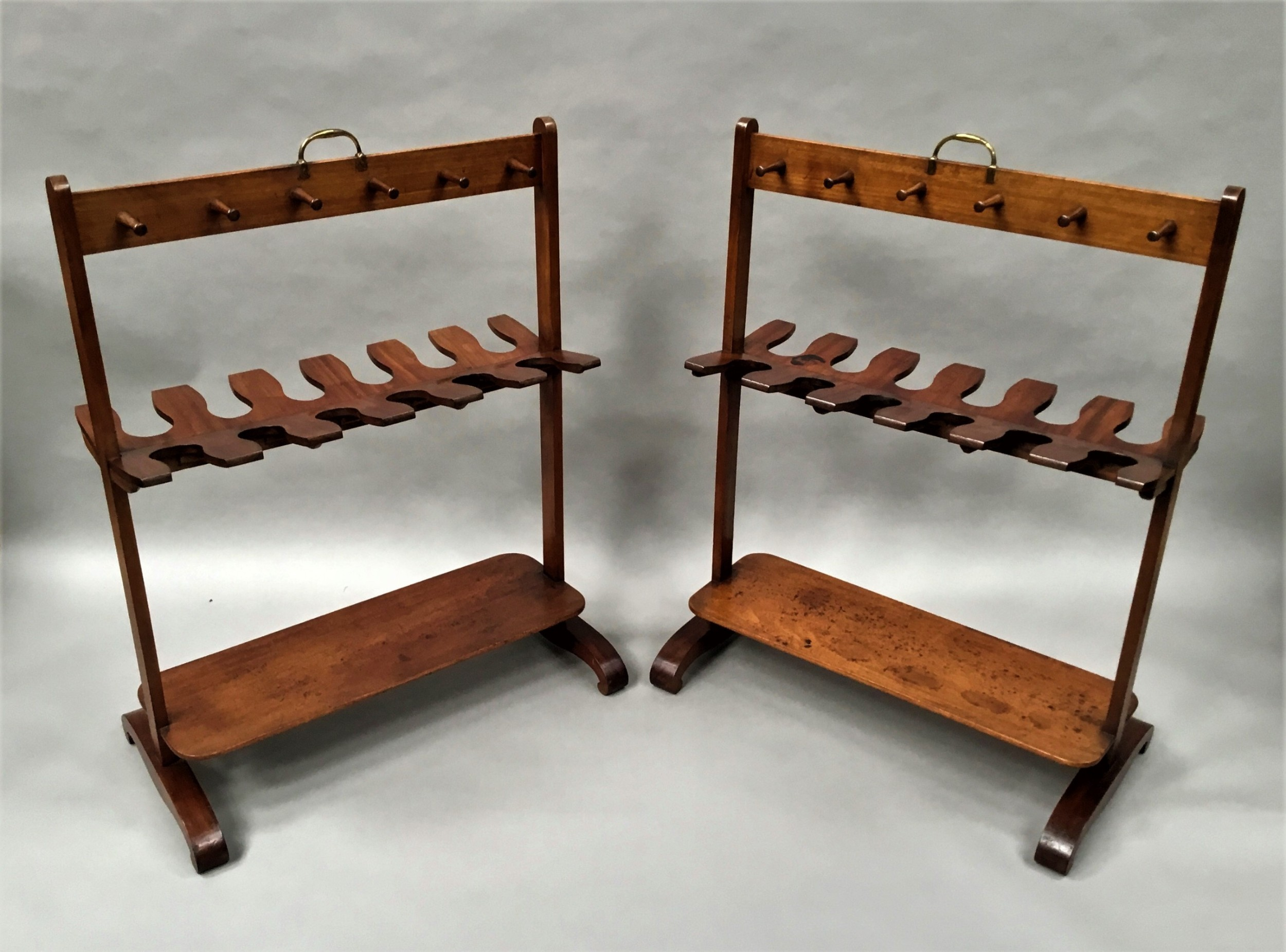 pair regency mahogany 'country house' whip and boot racks stands attributed to gillows