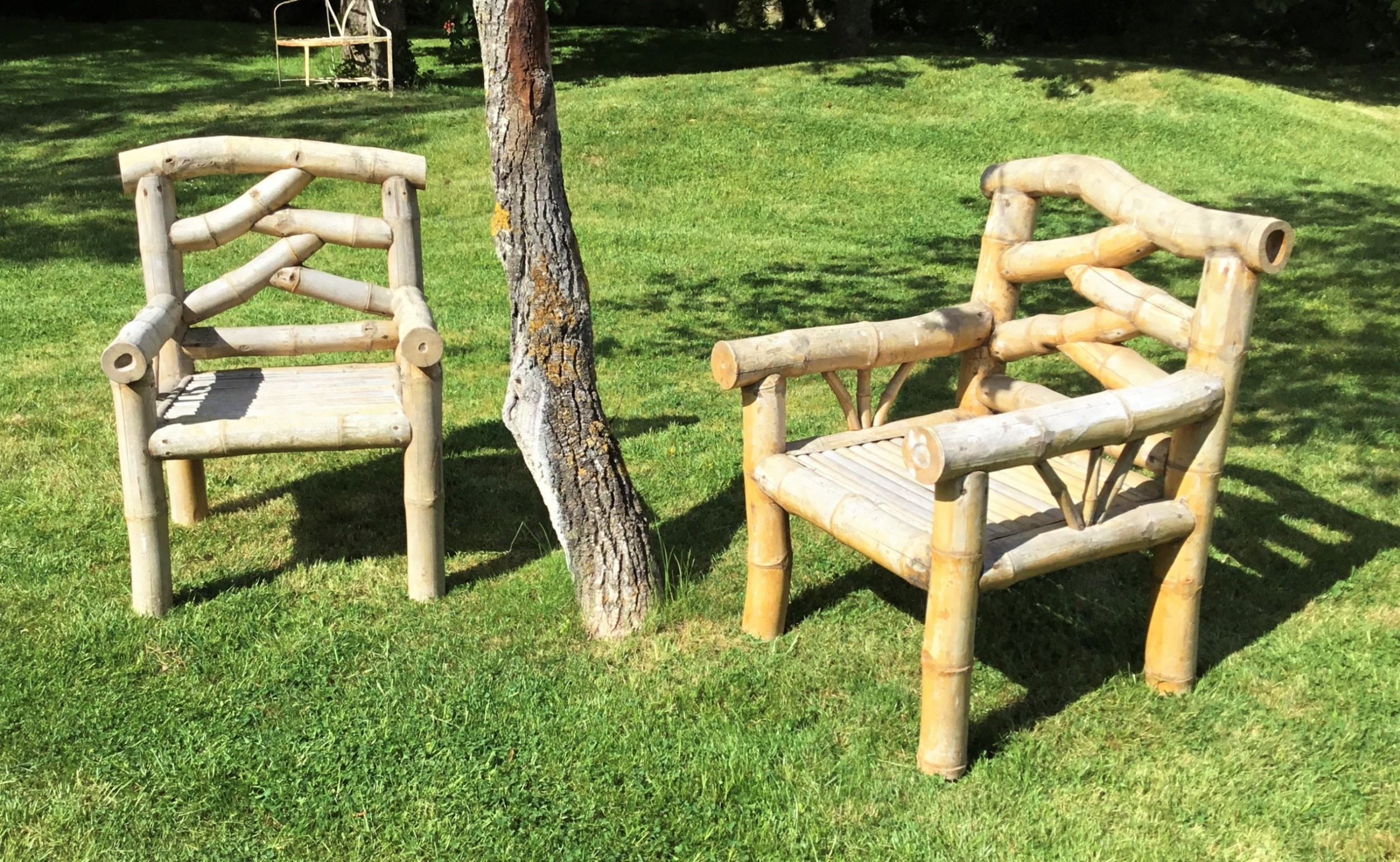 c20th bamboo pair of garden armchairs conservatory chairs