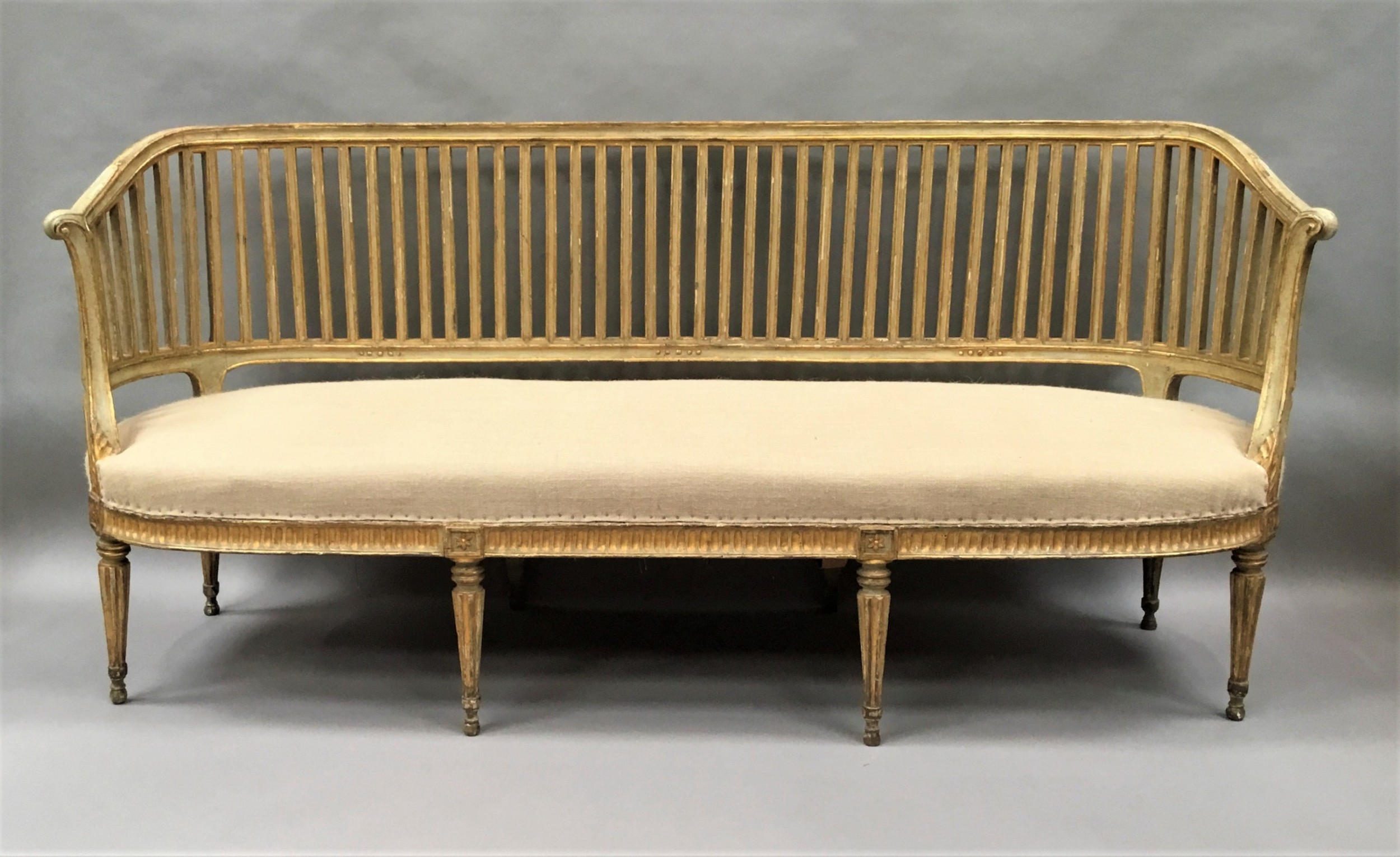 c18th italian neoclassical settee with original paint and parcel gilt