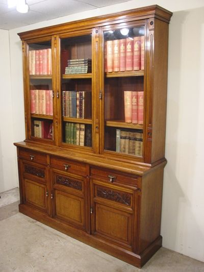 a good quality late victorian walnut arts crafts style bookcase circa 1890
