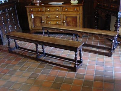 a pair of early 20th century 17th century style oak joined benches circa 1910