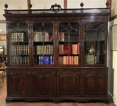 a fabulous victorian figured mahogany library bookcase of large proportions