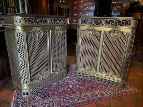 a rare pair of early 20th century french heavy brass radiator covers