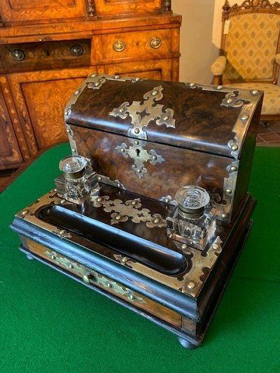 a fine quality victorian burr walnut brass mounted desk stand