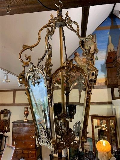 an early 20th century brass georgian style hexagonal 4 light pendant hall lantern