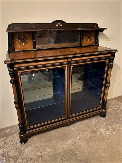 an aesthetic movement amboyna and ebonised cabinet by henry ogden of manchester circa 1890