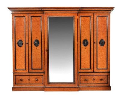 a superb quality victorian burr elm and ebonised compactum wardrobe by renowned cabinet maker lamb of manchester