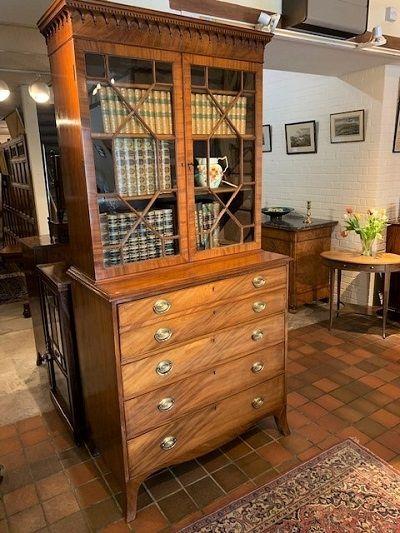 a george iii mahogany secretaire bookcase circa 1810