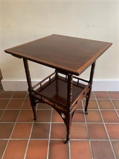 an arts crafts mahogany occasional table in the manner of ew godwin circa 1900