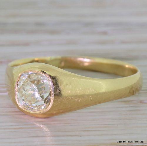 victorian 107 carat old mine cut diamond solitaire ring circa 1890