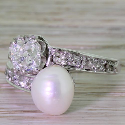 art deco 098 carat old cut diamond natural pearl cross over ring french circa 1930